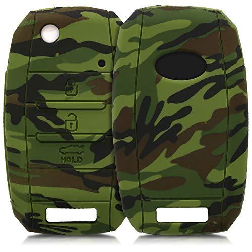 kwmobile Autoschlüssel Hülle für Kia - Silikon Schutzhülle Schlüsselhülle Cover für Kia 3-4-Tasten Autoschlüssel Schwarz Hellgrün Dunkelgrün