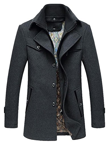 Lavnis Herren Warm Wollmantel Stehkragen Wintermantel Kurzmantel Winter Jacke Business Freizeit...