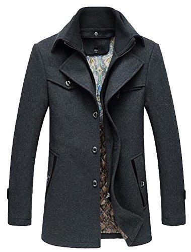 Vogstyle Herren Winter Mantel Jacke Klassischer Herrenmode Wollmäntel Wintermantel WärmeJacke Coat Style 3 Grau S