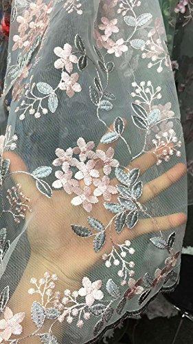 Spitze bestickt Stoff mit Blattwerk für Girl 's trendiges Kostüm Kleid Abendkleid Ball Rock 129,5cm Breite (130cm), grau, width 130cm ()