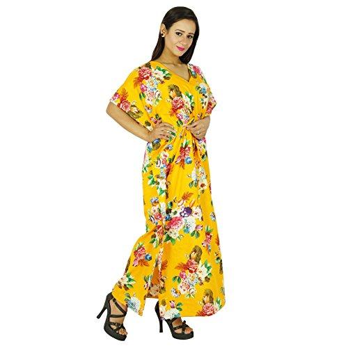 Phagun Kaftan Kleid Gedruckt Maxi Nachtzeug Baumwolle Lange Böhmischen Frauen Kaftan Gelb und Blau