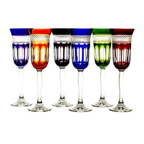 Crystaljulia 04866 - set di 6 bicchieri da spumante crystalite, colori assortiti