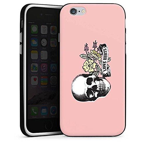 Apple iPhone X Silikon Hülle Case Schutzhülle Skull Love Hurts Flower Silikon Case schwarz / weiß