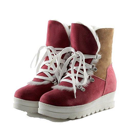 AllhqFashion Damen Gemischte Farbe Niedriger Absatz Rund Zehe Schnüren Stiefel Pink