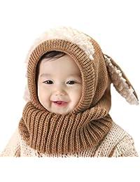 DELEY Unisex Bambino Autunno Inverno Maglia di Lana Carino Animale Cane  Paraorecchie Sciarpa Cappello Cappelli Cappuccio 8cf1c2ed6746