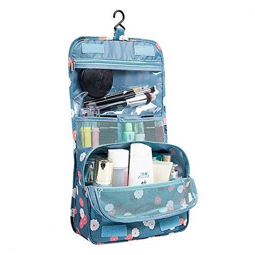 Baanuse Viaggi Toilette Borsa, Beauty Case, Trucco Cosmetico Portatile Organizzatore, con Gancio, Blu
