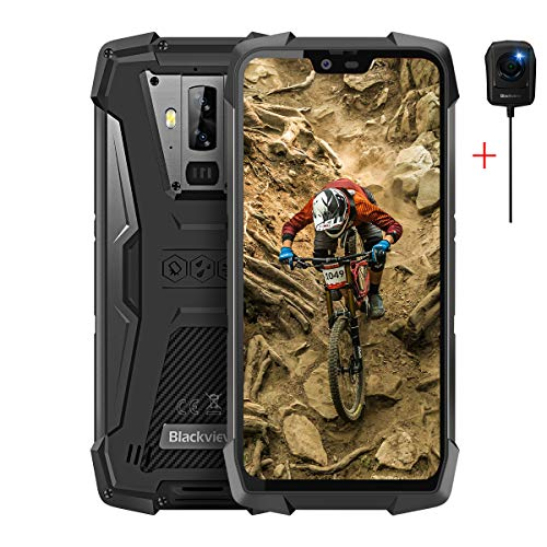 Blackview BV9700 Pro Robust Handy,Helio P70 6GB RAM+128GB IP69K Outdoor Smartphone,19:9 Amoled 5.84 Zoll Display 16MP+16MP+8MP Dual Kameras,4G-Netzwerk Kabelloses Laden,Schwarz with Nachtsicht Kamera
