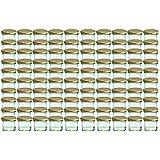 100er Set Sturzglas 125 ml Marmeladenglas Einmachglas Einweckglas To 66 gold farbiger Deckel