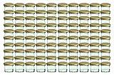 Cap+Cro - Set da 100 barattoli in vetro da 125 ml per marmellate, con coperchio motivo a quadri, Ø 66 mm, colore: Oro/Trasparente
