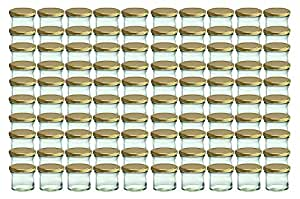 Cap+Cro Lot de 100 bocaux en verre pour conservation de confiture avec couvercle au motif de fruits - Capacité : 125 ml