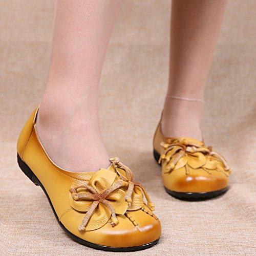 Vogstyle Damen Frühjahr/Sommer Neu Vintage Handgefertigte Große Blume Leder Flache Schuhe Art 2 Gelb
