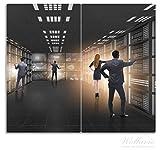 Wallario Herdabdeckplatte/Spritzschutz aus Glas, 2-teilig, 60x52cm, für Ceran- und Induktionsherde, Business - Geschäftsleute im Datenzentrum