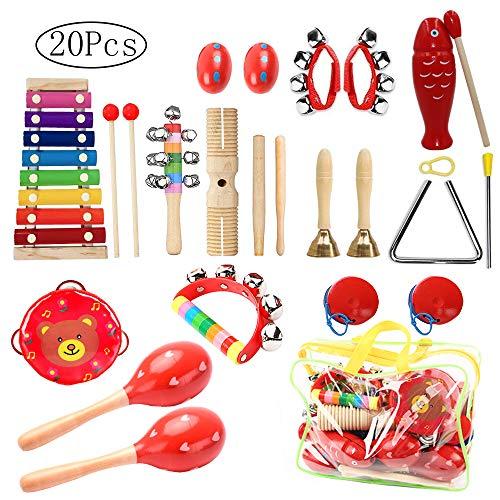 Musikinstrumente Kinder Set,20 Stück Holz Percussion Set Schlagzeug Schlagwerk Rhythm Toys Früherziehung Musik Kinderspielzeug für Kleinkinder Instrumentenset für Kinder und Baby mit Einer Tragetasche