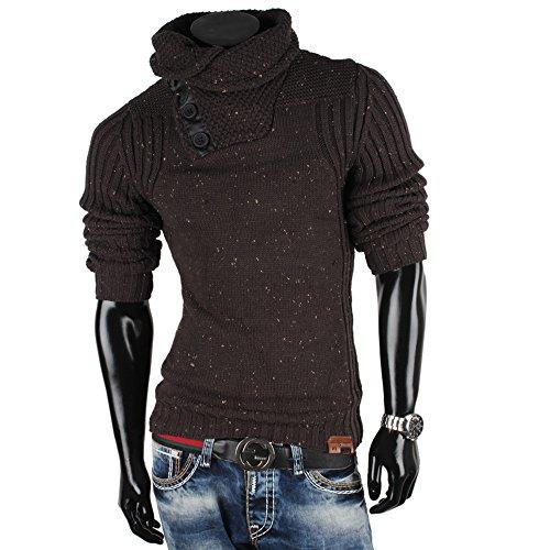 Tazzio Herren Pullover Grobstrick Pulli Sweatshirt Strickjacke Strick Wolle Anthrazit