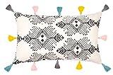 Dekokissen Tribe - 30x50- 100% Baumwolle - Inklusive Füllung aus Polyester - mit Pompons (Ecru mit Pompons)
