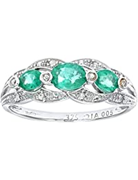 Naava Women's 9 ct White Gold Diamond and Emerald Fig Eight Design Ring
