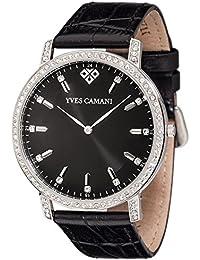Yves Camani Damen-Armbanduhr Mayenne mit schwarzem Lederarmband und hochwertigem Edelstahlgehäuse. Klassische Quarz-Uhr mit Steinbesetzer Lünette, Gehäuse und schwarzem Zifferblatt.
