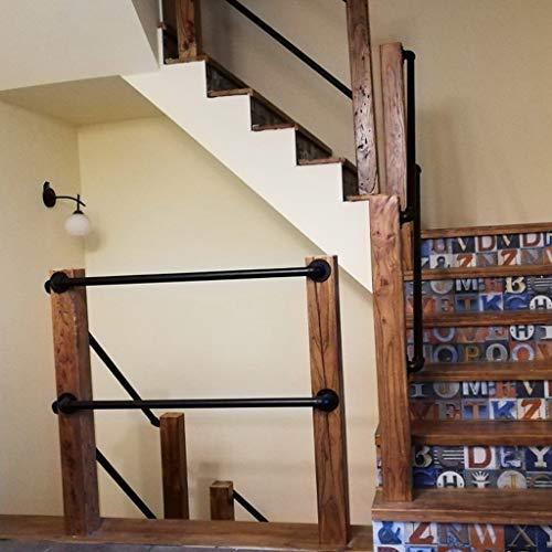 Industrie Handläufe Treppen Handlauf Geländer Außen Innen Schwarz Metall Schmiedeeisen | Wandhandlauf Wohnung Draußen Handlaufset direkt zum Treppenhaus oder Kellereingang