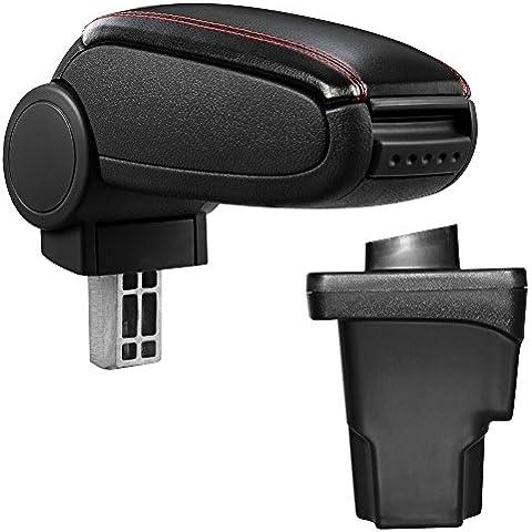 [pro.tec] Reposabrazos central – Apoyabrazos con compartimento – acolchado – polipiel – negro con costuras