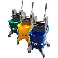 Cubo de fregado profesional con prensa y ruedas de 32 litros. (Azul)