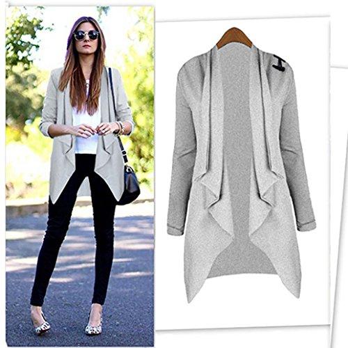 Cardigan Femme,LMMVP Femmes Manteau de Cardigan à Manches Longues Open Front Jacket Outwear Lâche gris