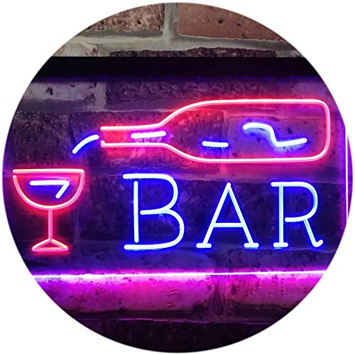 ADV PRO Bar Bottle Glass Display Open Home Decoration Dual Color LED Enseigne Lumineuse Neon Sign Rouge et Bleu 400 x 300mm st6s43-i3182-rb