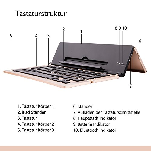 Faltbar Bluetooth Tastatur, iEGrow F18 Universal Tragbar Bluetooth 3.0 Kabellose Tastatur mit Ständerhalter für Apple iPad iPhone 7 Plus IOS, Andriod Windows Smartphone Tabletten Gold [QWERTZ deutsches Tastaturlayout] - 4