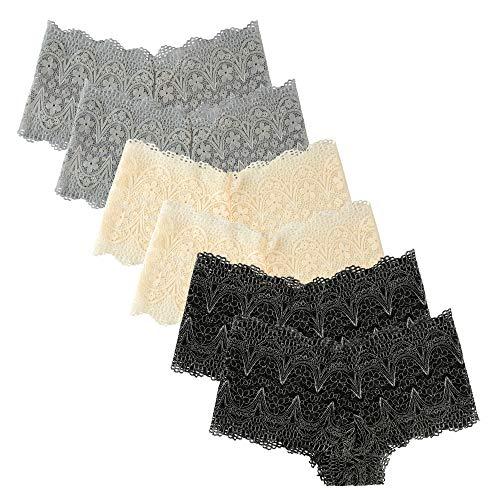 Extreme Look Lace Boyshorts Panty Dessous Damen 6er Pack - - Klein -