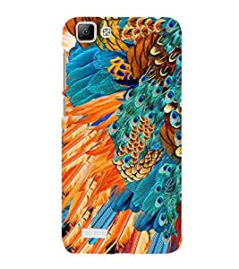 Peacock Feather Abstract 3D Hard Polycarbonate Designer Back Case Cover for VIVO V1