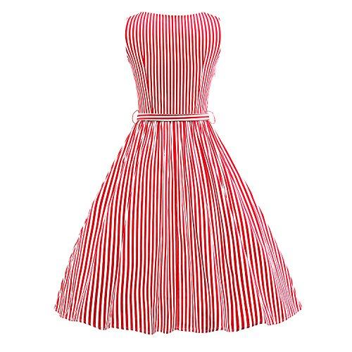 LUOUSE 'Audrey' Hepburn Stil Vintage Clarity Kleid im 50er-Jahre-Stil V050-redstripe