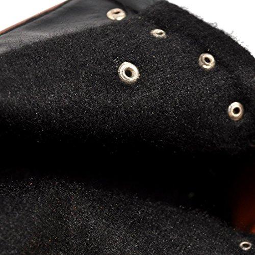 Stivali Pelliccia Scarpe E L'inverno Per Moda Pizzo La Con Donne Uh Blocco Comodo Tacco Piattaforma Dell'alto Marrone qtznI8wS