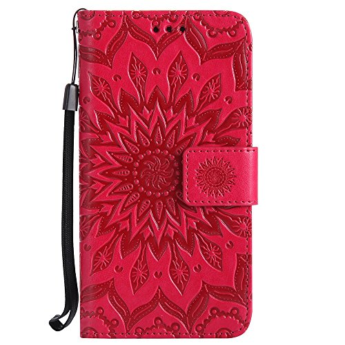 Für Huawei Hornor 6 Fall, Prägen Sonnenblume Magnetisches Muster Premium Weiche PU Leder Brieftasche Stand Case Cover mit Lanyard & Halter & Card Slots ( Color : Rose Gold ) Red