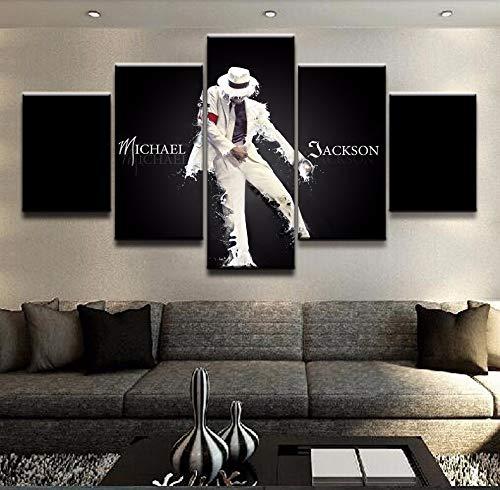 hllhpc Artwork 5 Panel Canvas Printed Michael Jackson Poster Painting Modern Decorative Home Decor Wall Art Modular Pictures (Michael Jackson Home Decor)