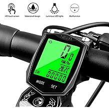 Cyfie Velocimetro Bicicleta Inalambrico Impermeable Ciclocomputador Bicicleta Cuenta Kilómetros Lleva Termómetro, Reloj y Diversos Medidores