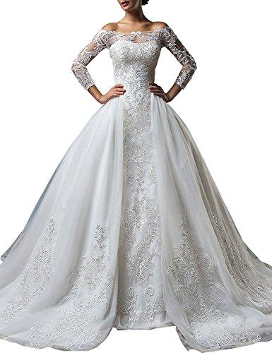 Changjie Damen 3/4-Arm Abnehmbar Kapelle Zug Spitze Applikationen Tulle Ballkleid Hochzeitskleid Elfenbein