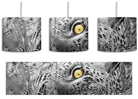 aufmerksamer liegender Leopard schwarz/weiß inkl. Lampenfassung E27, Lampe mit Motivdruck,