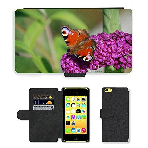 Just Mobile pour Hot Style Téléphone portable étui portefeuille en cuir PU avec fente pour carte//m00139699insectes papillon fleur Nature//Apple iPhone 5C