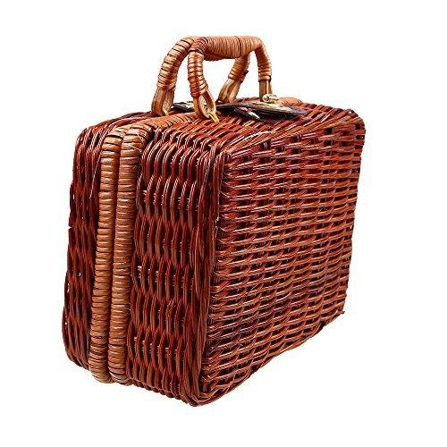 Wcic en osier Panier cadeau fabriqués en osier Tissage Basketstorage Coque avec doublure pour boîte cadeau de voyage bagages Sac à main Medium 30cmX22cmX13.5cm