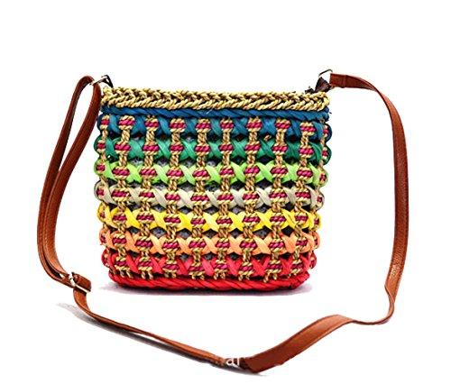 tonwhar femmes de paille de plage style bohème sac fourre-tout sac à bandoulière Multicolore Color 1-bear Color 1