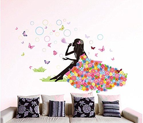 Wohnzimmer Schlafzimmer Dekoration Schmetterling Wand Aufkleber Magic Fairy strahlende Blume Herz Girlande rosa Kleid Dienstmädchen Wandtattoo für Mädchen Zimmer der Dekoration 3 (Living Dot Beach)