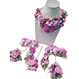 spectrumjaipur Pink Gota Patti Flower Jewellery Set for Women