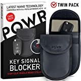 POWR 2 X RFID Signal Blocking Pouches Anti-Theft Faraday Bag Protector for Keyless Car Key fobs | Blocks RFID/WiFi/GSM/LTE