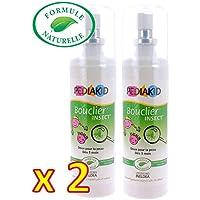 Pediakid - Bouclier insect - FORMULE NATURELLE - Sans Alcool - Protéger les enfants dès 3 Mois des piqûres d'insectes - Lot de 2 Flacons