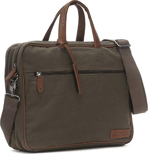 URBAN FOREST, Aktentaschen, Laptoptaschen, Notebooktaschen, Business-Bags, Messenger, Messengerbags, Umhängetaschen, Briefcase, DIN-A4, 38,5 x 29 x 9 cm (B x H x T), Farbe:Blau Khaki
