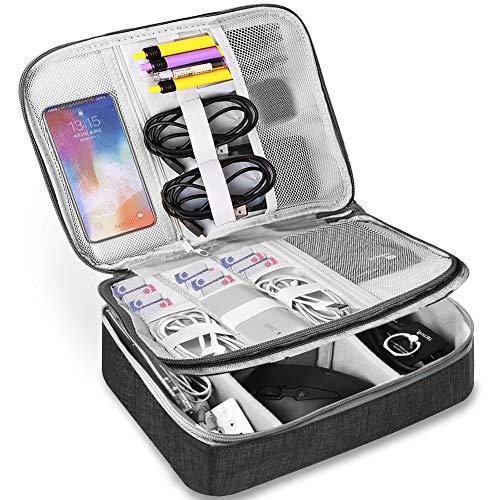 HCFGS Elektronische Tasche - Doppelte Schichte Elektronik zubehör organisator - universal travel Kabel Organizer Tasche(Schwarz -