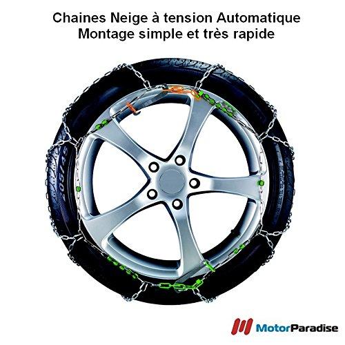 Chaines neige Automatiques 9 mm pour pneus 195/45R15 - Haute Qualité - Montage Facile et Rapide!