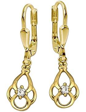 CLEVER SCHMUCK Goldene Ohrhänger 27 mm mit Goldtropfen 13 mm teils offen blütenartig, 4 elegante geschwungene...