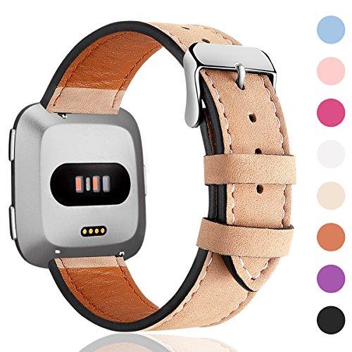 HUMENN Armband Für Fitbit Versa/Fitbit Versa 2, Echtleder Ersetzerband Verstellbares Zubehör Uhrenarmband mit Edelstahlschnalle Für Fitbit Versa/Versa Lite, L Khaki -