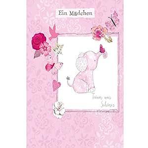 Carte de vœux faite à la main orné de swarovski elements-naissance fille motif éléphant popShot 12 x 17 cm