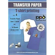 Papel transfer para hacer camisetas. Impresión en camiseta o tela oscura. A4 x 10 hojas